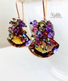 Ametrine Cluster Earrings Rose Gold Amethyst Purple Yellow Dangle Drop Garnet Pink Gemstone Wire Wrap Fall Fashion Kande - Kristina Henning