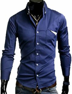 Mens Fashion Luxury Solid Color Slim Fit Stylish Casual Dress Shirts (US Size: L(Tag size:XXL), Dark blue) TRURENDI, To SEE or BUY just CLICK on AMAZON right here http://www.amazon.com/dp/B00ISQUSK0/ref=cm_sw_r_pi_dp_JGeDtb0FGQMH8153