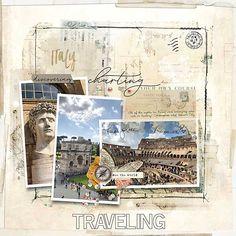 Blendable Layered Template No. Travel Scrapbook Pages, Vacation Scrapbook, Scrapbook Titles, Scrapbook Templates, Scrapbook Page Layouts, Mixed Media Scrapbooking, Digital Scrapbooking, Scrapbook Supplies, Vatican City