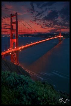 ~~San Francisco ~ Golden Gate Bridge at the golden hours, Sunset, California by by OhYo~~