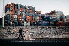 wedding photoshoot at Fremantle docksshot by Adam Levi Browne Photography Wedding Dreams, Dream Wedding, Pre Wedding Photoshoot, City Beach, White Bridal, Factories, Woodland Wedding, Gold Dress, Getting Married