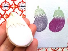 eggplant rubber stamp designed and carved by talktothesun. available at www.talktothesun.etsy.com