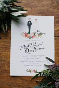 Fall Wedding in a Massachusetts Art Gallery from Lara Kimmerer. Wedding Invitations With Pictures, Photo Wedding Invitations, Wedding Invitation Design, Wedding Stationary, Wedding Art, Dream Wedding, April Wedding, Autumn Wedding, Formal Wedding