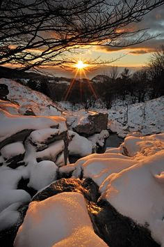 Snow Sunset, Liguria, Italy