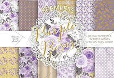 Watercolor purple roses digital pape. Wedding Card Templates