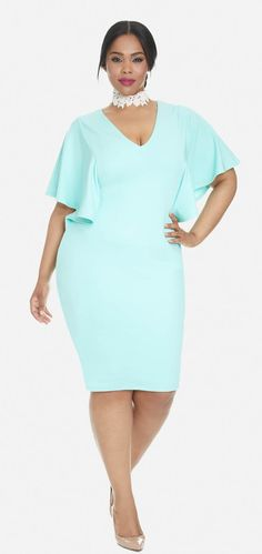 Plus Size Flutter Sleeve Dress