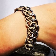 Hemp & Chain Bracelet from NyxStudioArt Nyx, Hemp, Silver Plate, Plating, Jewellery, Chain, Bracelets, Earrings, Leather