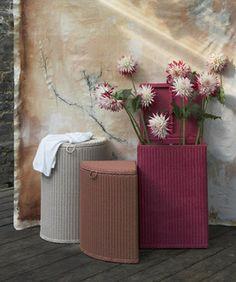 vintage Lloyd Loom laundry basket for the bedroom.
