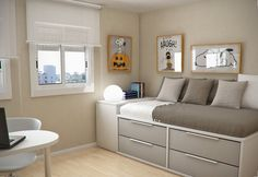 Simple and Minimalist Teen Bedroom Design by Sergi Mengot Bedroom Bed, Bedroom Decor, Bedroom Small, Decorating Bedrooms, Bed Room, Decorating Ideas, Small Rooms, Small Spaces, Teen Bedroom Designs