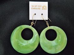 Vintage 80s Celluloid Hoop Statement Earrings Lime Green 14k GF Earwires #Hoop