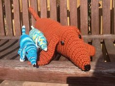 My dachshunds, two small ones my own pattern, the large one (about 70 cm long) following Rico design Ted der Dackel