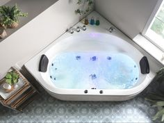 This SPA bath will give you a luxury relaxing time. It features a set of 4 big and 8 small jets for the best water massaging experience. It guarantees utter comfort thanks to backrest pillows; even a quick shower becomes a delightful ritual with this bathtub. Enjoy stunning LED effects while taking a long relaxing bath. It is made of high-quality, sanitary acrylic that ensures durability and easy cleaning.  Details: Color: White, Black. Main material: Acrylic. Additional material: Stainless Stee Corner Bathtub Shower, Jacuzzi Bathroom, Big Bathtub, Corner Tub, Bathroom Toilets, Bath Tub, Jacuzzi Bad, Two Person Tub, Whirlpool Spa