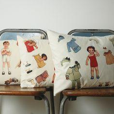 Paper doll pillow/cushion on organic cotton