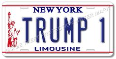New York TRUMP 1 Statue of Liberty Political Vanity Limousine License Plate Tag