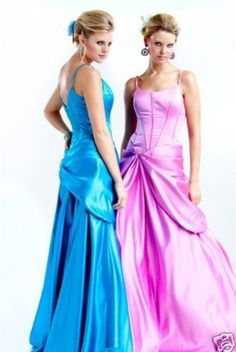NWT Sexy Satin Jovani Prom Evening Gown Dress Blue Pink via Bootsies