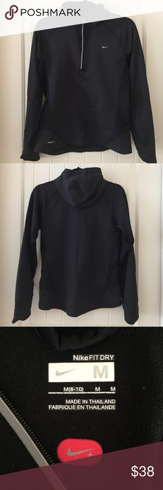 Nike FIT DRY Half-zip Jacket, Black, Size M Nike FIT DRY Half-zip Jacket in Black. This Jacket has reflective detail on the zipper and hand cuffs at the wrist. In excellent used condition! Size Medium Nike Tops Sweatshirts & Hoodies