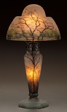 ** Daum Frères, Nancy, Acid Etched and enameled Glass Lamp.