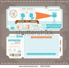 Vector Movie Ticket Wedding Invitation Design Template - stock vector