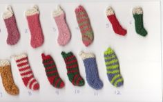 1/12th scale knitted Christmas stockings