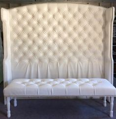 Made to Order **Please check current lead time posted on my Shop Announcements page** *Shipping is not included in listing price. Please send your zip code for a shipping quote* Diamond tufted wingback headboard: $990 Slightly arched shape with curved wings. Fabric: White Faux Leather Nailhead Border on top of headboard and inside/outside of wings: Shiny Nickel/Silver finish Dimensions: King size 76 wide (measured from inside of wings) x 80 extra tall. Wing depth is approx. 10 at widest cur... Velvet Headboard, Wingback Headboard, King Headboard, Tufted Bench, Headboards, King Diamond, Diy Bedroom Decor, Bedroom Furniture, Bedroom Ideas
