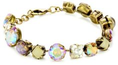 """Sorrelli """"Mirage"""" Classic Crystal Antique Gold-Tone Bracelet Sorrelli. $82.50. The Sorrelli vision, to create beautiful jewelry and bring enjoyment to those who wear it, continues today. Handcrafted from genuine semi-precious stones and high quality Austrian crystals. A polishing cloth will keep the metal from oxidizing over time. Store in a dry place. Made in China. To keep your jewelry looking its best, clean it periodically with a mild soap and water"""