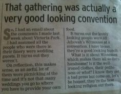 An article in a newspaper where the writer states that what she thought was a wedding was actually a convention and all the people were so good looking.