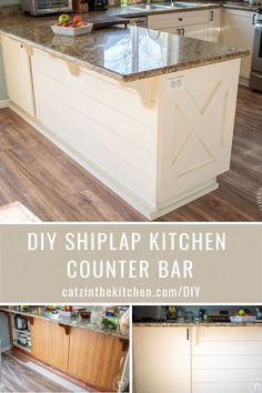Kitchen Counter Diy, Small Kitchen Bar, Small Farmhouse Kitchen, Kitchen Ideas, Kitchen Upgrades, Coastal Farmhouse, Farmhouse Style, Kitchen Decor, Faux Shiplap