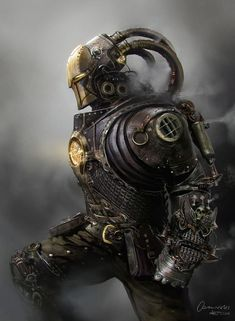 Steampunk Iron Man by artozi robot cyborg mech mecha armor fighter gladiator player character npc | Create your own roleplaying game material w/ RPG Bard at www.rpgbard.com | Writing inspiration for Dungeons & Dragons DND Pathfinder PFRPG Warhammer 40k Star Wars Shadowrun Call of Cthulhu and d20 fantasy science fiction scifi horror design | Not our art: please click artwork for source: