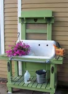 Garden Potting Bench | Potting Bench with Sink Rustic Window Sink P.B ...