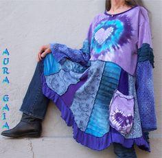 AuraGaia ~ Love~ Hearts Tunic Dress Upcycled L-1X Purples & Blues Fun n…
