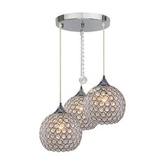 DINGGU 3 Lights Modern Crystal Ball Pendant Light Fixture Flush Mounted Ceiling Chandelier ** You can get more details by clicking on the image.