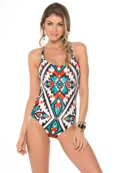 Becca by Rebecca Virtue's Aztec One Piece X-Back Tank | Everything But Water