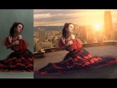 photoshop photo manipulation tutorial   girl on building   photo effects [Episode 17] - YouTube