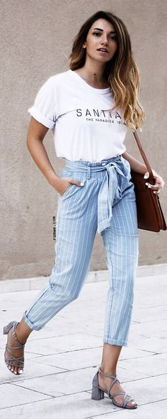 Casual Style - Blue Stripe Zipper Pockets Cropped Pants with print white t shirt and grey sandals from romwe.com