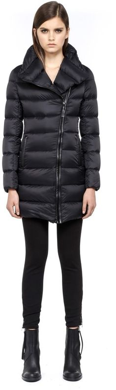 Mackage Yara Black Long Light Winter Down Jacket With Large Collar on shopstyle.com