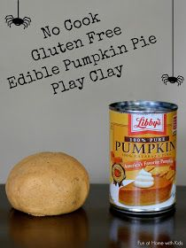 No Cook Gluten Free Edible Pumpkin Pie Play Clay - feels just like clay, is edible, and takes just a few minutes to make!  From Fun at Home with Kids