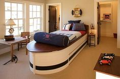 nautical bedroom- boat bed, life buoy clock and ships wheel light Boys Nautical Bedroom, Boys Bedroom Decor, Bedroom Themes, Teen Bedroom, Nautical Theme, Bedroom Ideas, Bedroom Fun, Teenage Bedrooms, Bedroom Table