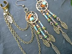 dreamcatcher ear cuff chained SET turquoise amber cross cuff