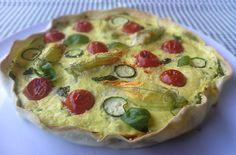 Torta salata con pomodorini e fiori di zucca
