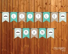 Mustache / Little Man Baby Shower Party - PRINTABLE Banner boy moustache chevron turquoise grey diy pdf. $7.00, via Etsy.