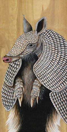 Armadillo art print / open edition armadillo giclee artwork / Texas animal artwork / print by Skee Goedhart/ adorable, grey, armor plated