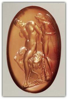 Gemme: Hercules is captivated by Cupid. Roman Republican, third quarter of the 1st century. V. Chr. Carnelian, dark orange.