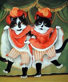 "Cats can-can ""French Cancan"" par Susan Herbert. My favourite dance and favourite animals combined."