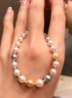 Multicolor Akoya pearls candy bracelet