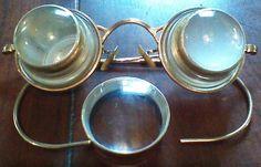 Oddities strange bizarre Vintage jewelers  watchmakers dental loupe glasses odd