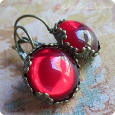 Cherry Jubilee: bright cherry red vintage glass and aged brass crown setting lever back earrings by HeatherlyDesigns, $18.00