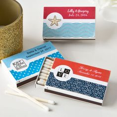 Personalized Matchbox Favors (Pack of Add an elegant personal touch to your next grand affair when you offer each guest a box of matches customized with your own unique message. The two piece match box contains approx 20 wood match sticks and ha Personalized Wedding Favors, Personalized Labels, Wedding Favours, Inexpensive Wedding Favors, Wedding Shoppe, Bridal Shower Party, Practical Gifts, Favor Boxes, Shower Gifts