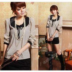 New Women's Vintga Long Sleeve Polka Dot Chiffon Casual Shirt Tops Blouse Size S | eBay