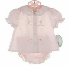 Rosalina Pink Diaper Set with Bunny Embroidery Vintage Baby Clothes, Baby Kids Clothes, Doll Clothes, Baby Boy Dress, Baby Boy Outfits, Baby Clothes Patterns, Dress Patterns, Baby Layette, Take Home Outfit