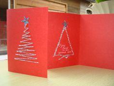 Kerstkaart Borduren op papier. Eigen werk. blog.brouwershuusken.nl
